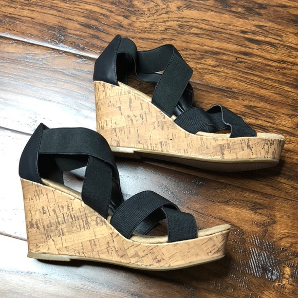 434a2e4c174 Black tan cork Darcy stretch wedges - new in box